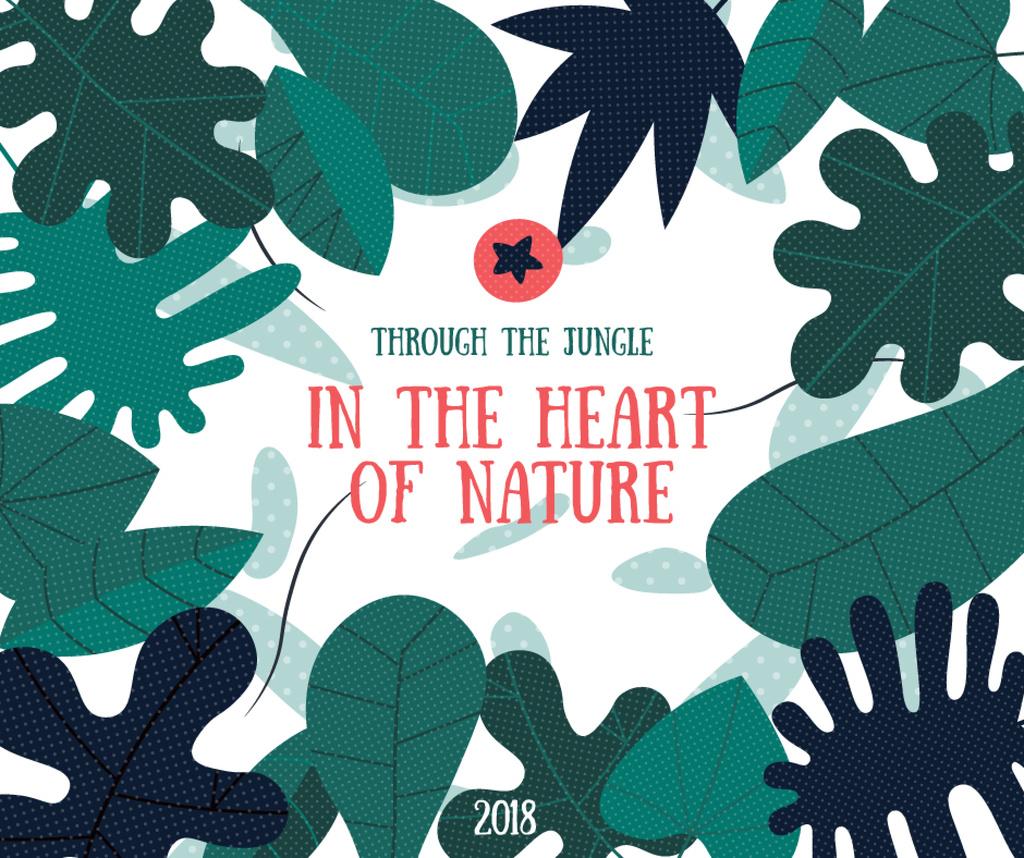 Jungle Green Leaves Frame — Crear un diseño