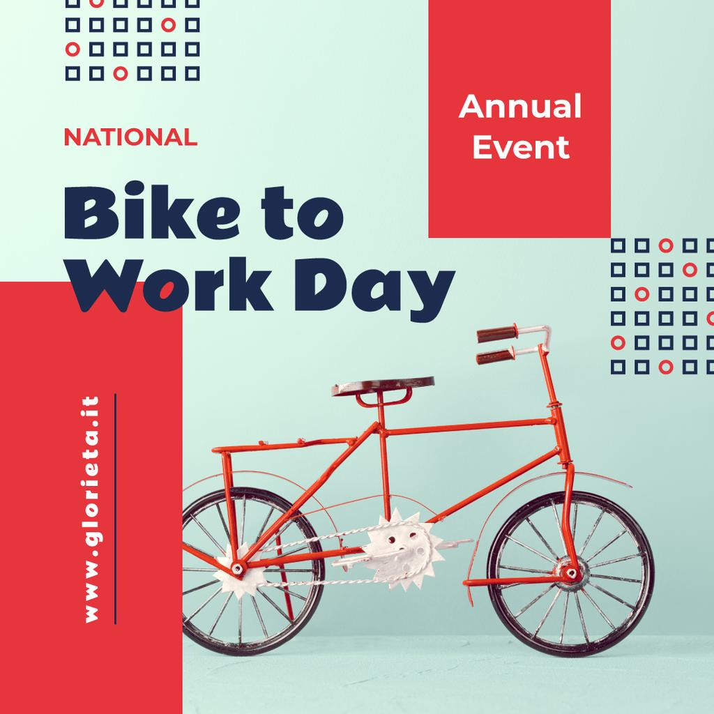 Bike to Work Day Modern City Bicycle in Red | Instagram Post Template — Crea un design