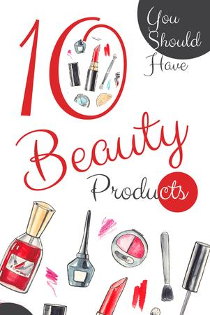 Plantilla de diseño de Beauty Offer with Cosmetics Set in Red Pinterest