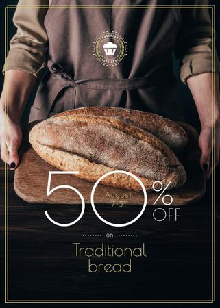 Bakery Promotion Baker Holding Fresh Loaves in Brown Flayer – шаблон для дизайну