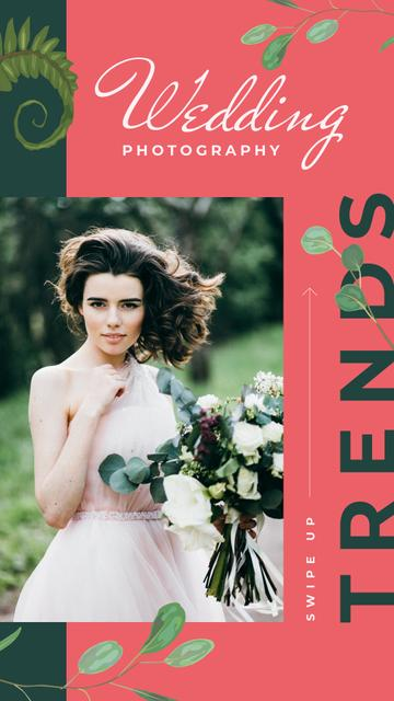 Young beautiful bride on Wedding day Instagram Story Design Template