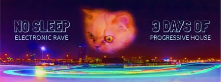Cat gazing at night city Facebook Video cover Tasarım Şablonu