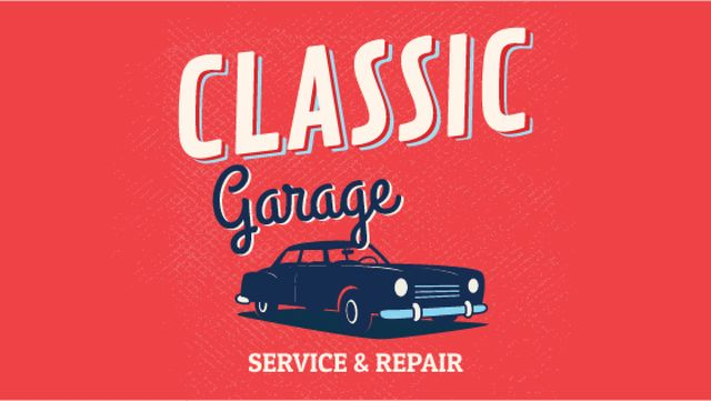 Garage Services Ad Vintage Car in Red Titleデザインテンプレート