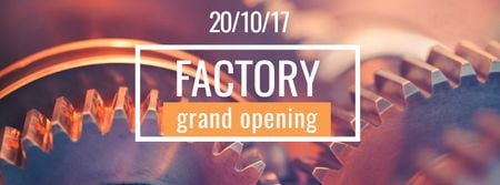Template di design Factory Opening Announcement with Mechanism Cogwheels Facebook cover