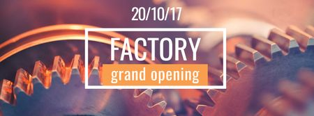 Factory Opening Announcement with Mechanism Cogwheels Facebook cover Tasarım Şablonu