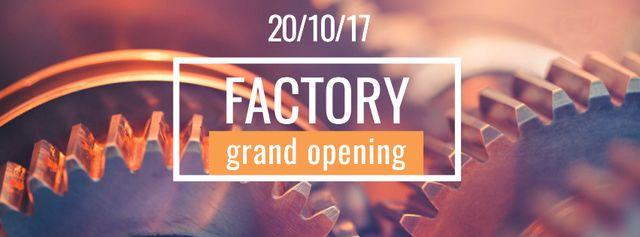 Szablon projektu Factory Opening Announcement with Mechanism Cogwheels Facebook cover
