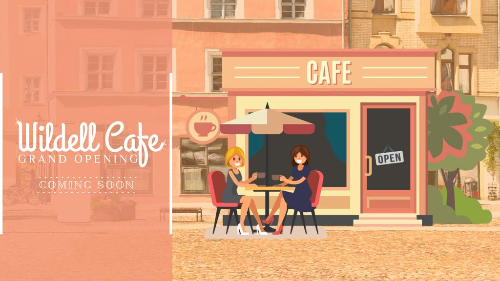 Cafe Invitation with Women Drinking Coffee — Створити дизайн