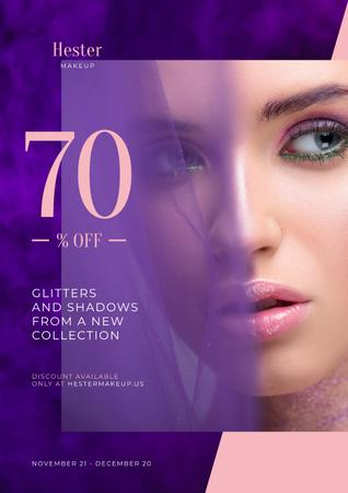 Szablon projektu Cosmetics Sale Ad with Woman with Bold Makeup Poster