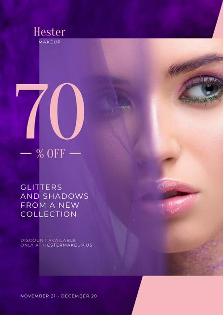 Template di design Cosmetics Sale Ad with Woman with Bold Makeup Poster