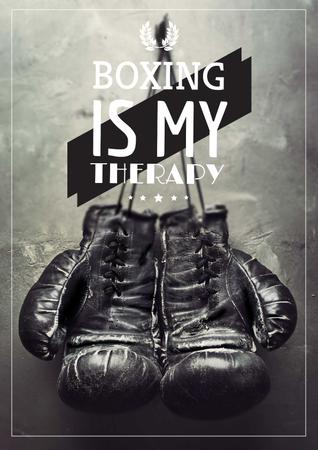 Template di design Sport Quote with Boxing Gloves on Wall Poster