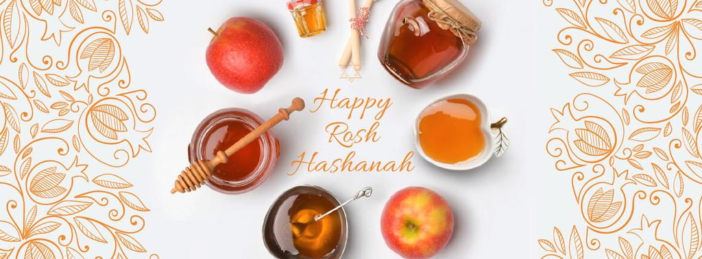 Rosh Hashanah apples with honey and Star of David — Modelo de projeto