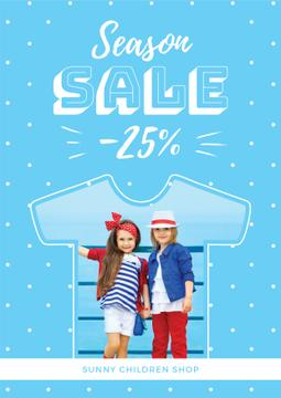 season sale banner with kids