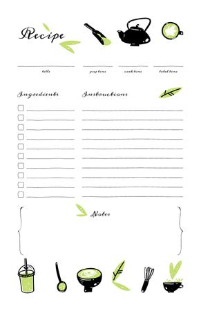 Ontwerpsjabloon van Recipe Card van Green Beverages and Teapot