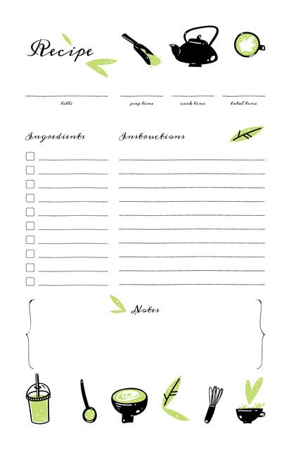 Modèle de visuel Green Beverages and Teapot - Recipe Card