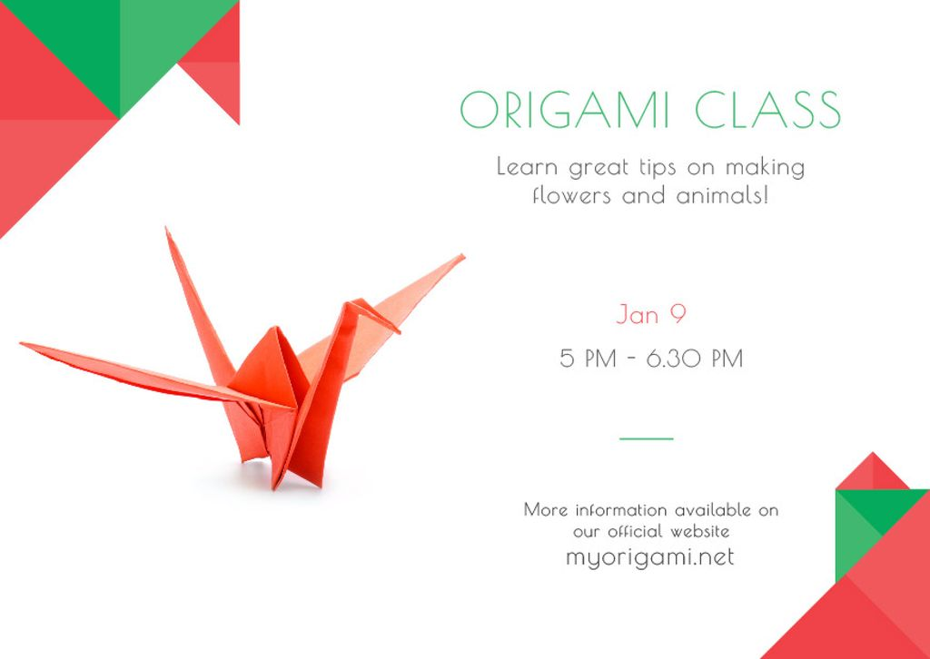 Plantilla de diseño de Origami Classes Invitation Paper Bird in Red Postcard
