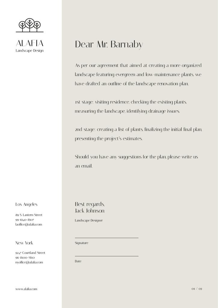 Landscape Design Agency agreement Letterhead Design Template