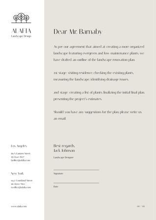 Landscape Design Agency agreement Letterhead Modelo de Design