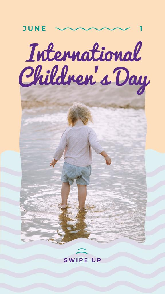 Happy girl in the puddle on Children's Day — Crear un diseño