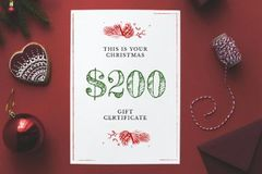 Christmas Gift Offer with Shiny Decorations in Red