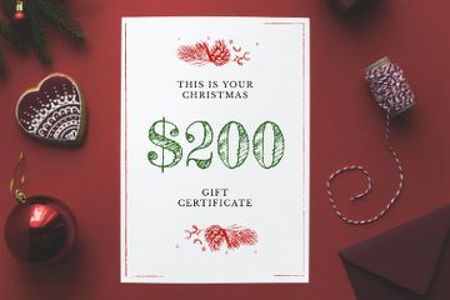 Christmas Gift Offer with Shiny Decorations in Red Gift Certificate Design Template