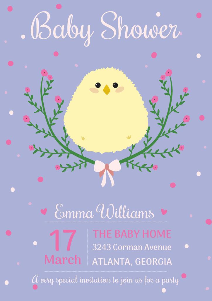 Designvorlage Baby shower invitation with cute chick für Poster