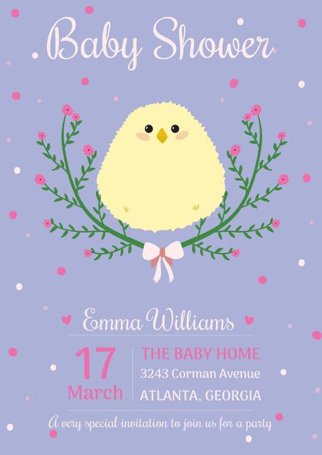 Baby shower invitation with cute chick Poster Modelo de Design