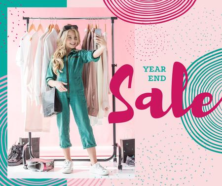 Ontwerpsjabloon van Facebook van Year End Sale Woman taking selfie in wardrobe