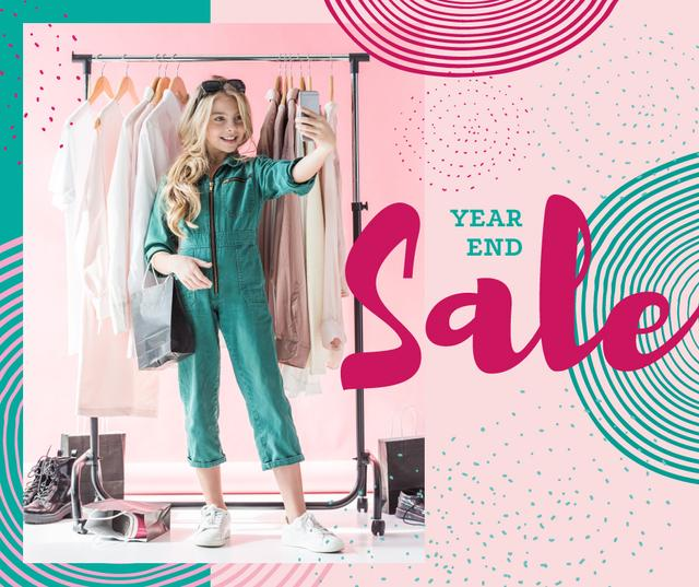 Template di design Year End Sale Woman taking selfie in wardrobe Facebook
