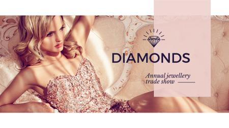 Jewelry Ad with Woman in shiny dress FB event cover – шаблон для дизайну