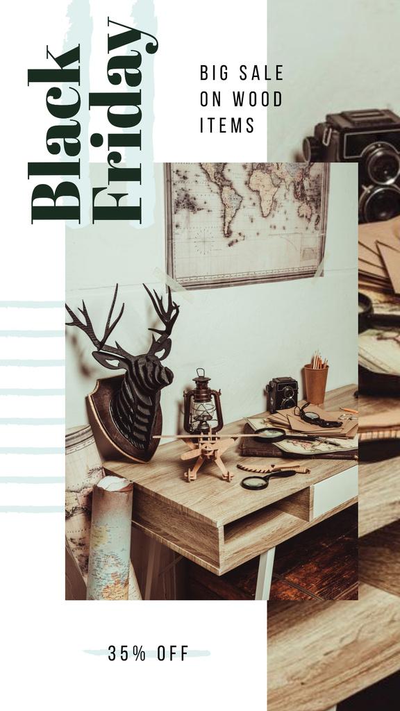 Template di design Black Friday Sale Vintage style travel kit Instagram Story