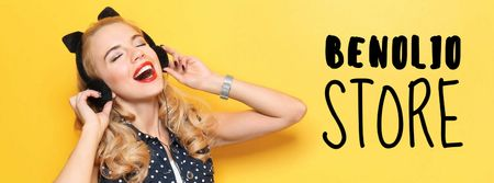 Ontwerpsjabloon van Facebook cover van Store Sale Woman in Headphones