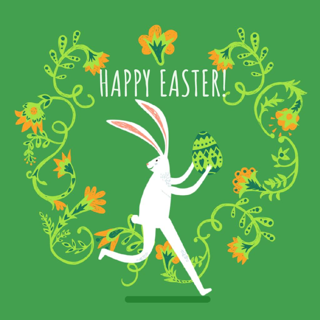 Easter bunny running with colored egg — Crea un design