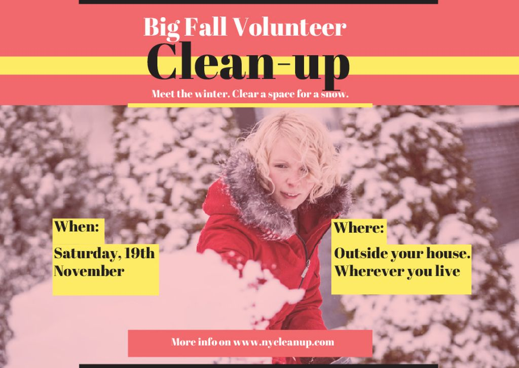 Woman at Winter Volunteer clean up — Maak een ontwerp