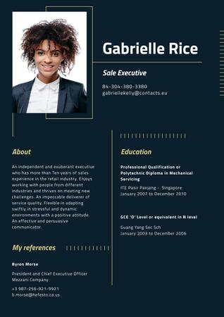 Plantilla de diseño de Professional Sale Executive profile Resume