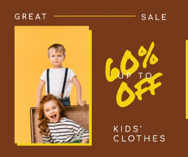 Plantilla de diseño de Kids' Clothes Sale Happy Little Kids Large Rectangle