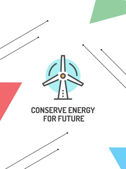 Conserve Energy Wind Turbine Icon Poster US – шаблон для дизайну