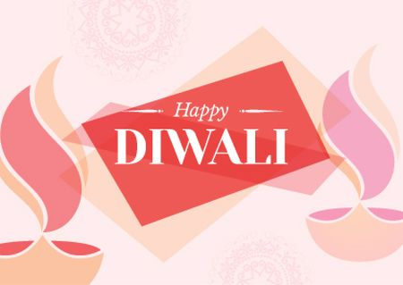 Happy Diwali celebration Postcard Design Template