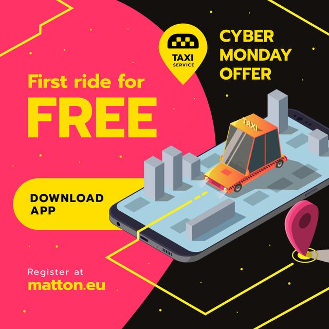 Modèle de visuel Cyber Monday Offer Taxi Application - Instagram