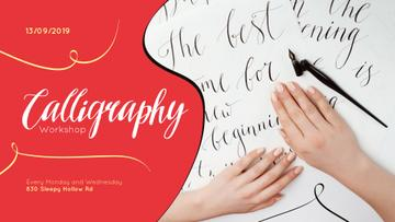 Calligraphy Workshop announcement Artist Working with Quill