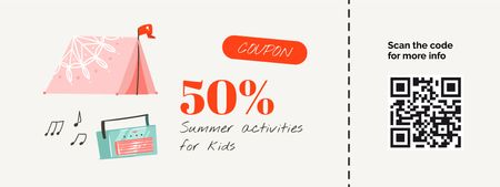 Summer activities for Kids with Cute Wigwam Coupon Modelo de Design
