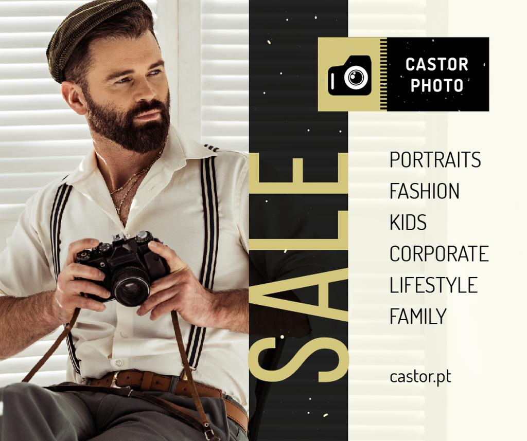 Photography Offer Hipster Man with Camera | Facebook Post Template — Modelo de projeto