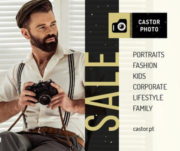 Photography Offer Hipster Man with Camera | Facebook Post Template