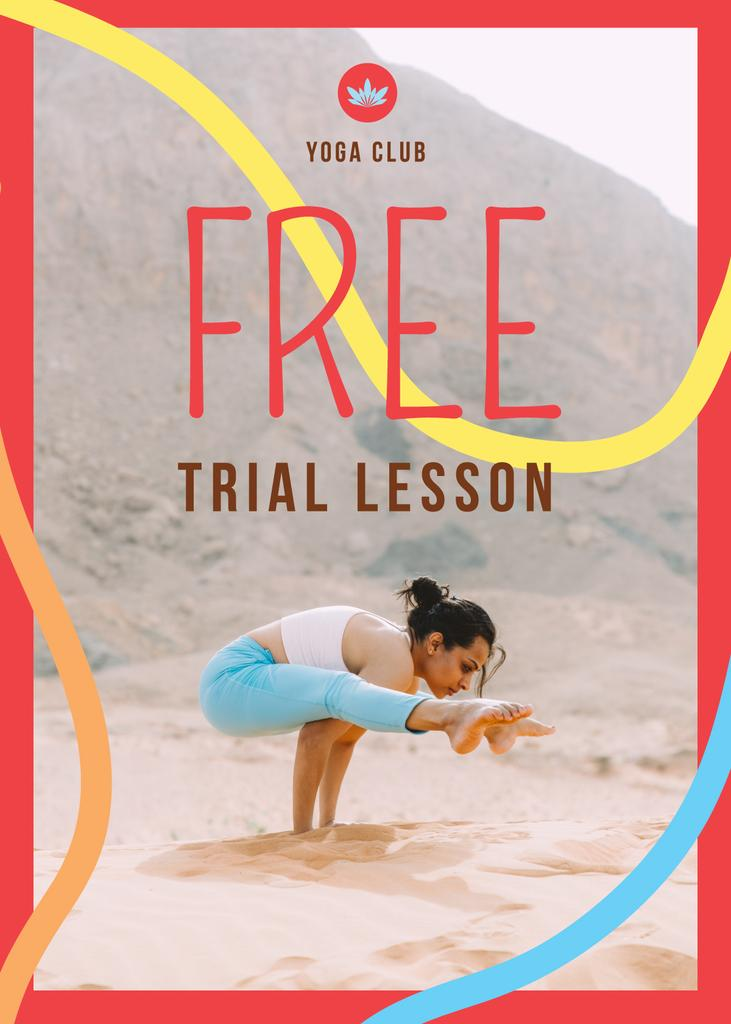 Yoga Club Offer with Woman Practicing Yoga — Modelo de projeto