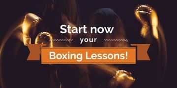 Boxing Lessons Ad with Boxer in Gloves Punching
