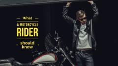 Handsome man near motorcycle