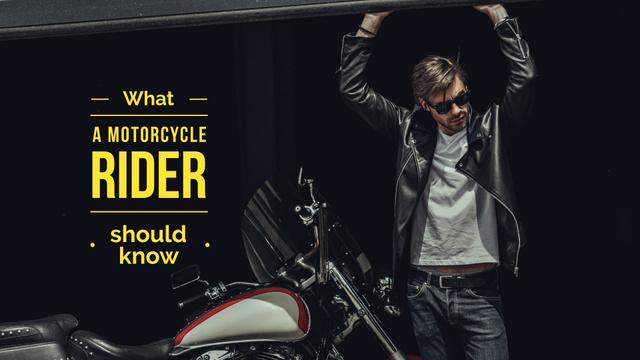 Handsome man near motorcycle Presentation Wide Modelo de Design