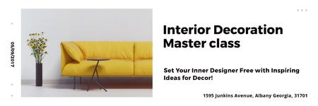 Interior Decoration Event Announcement Sofa in Yellow Twitter Design Template