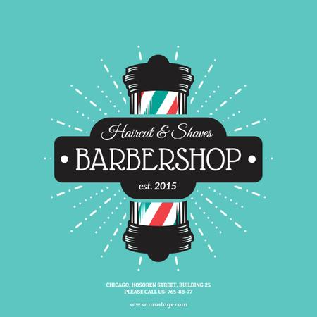 Plantilla de diseño de Barbershop Ad with Striped Lamp Instagram AD