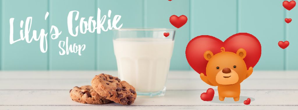 Cookies Shop Ad Loving Teddy Bear with Milk and Cookies | Facebook Video Cover Template — Crear un diseño