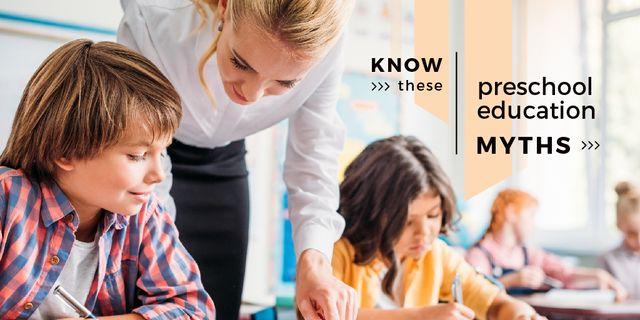 Teacher helping kids Twitterデザインテンプレート